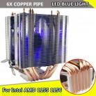 1249.88 руб. 42% СКИДКА|Для Intel LAG 1155 1156 для AMD Socket AM3/AM2 светодио дный синий свет Процессор вентилятор 6 xHeat трубы компьютер 12 В 3Pin охладитель вентилятор охлаждения радиатора купить на AliExpress
