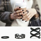 86.69руб. 5% СКИДКА|New fashion accessories jewelry black hollow finger ring set for women girl nice gift R4001-in Кольца from Украшения и аксессуары on AliExpress