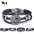 "US $1.95 61% OFF|Vnox Lucky Vintage Men's Leather Bracelet Playing Cards Raja Vegas Charm Multilayer Braided Women Pulseira Masculina 7.87""-in Charm Bracelets from Jewelry & Accessories on Aliexpress.com 