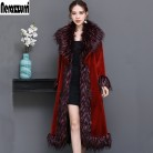 US $118.25 45% OFF|Nerazzurri Luxury runway coat women 2019 winter red furry faux fur coat women with fox fur collar plus size overcoat 5xl 6xl-in Faux Fur from Women's Clothing on Aliexpress.com | Alibaba Group