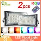 2 шт. Светодиодный прожектор 50 Вт 100 Вт RGB уличный IP65 водонепроницаемый наружный настенный отражатель освещение AC220V 240 В садовый прожектор