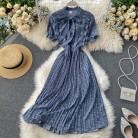 2020 Bow Vintage ruffles floral print Dress Summer Party Midi Long dress chiffon Women high waist pleated beach elegant Dresses