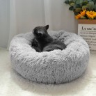 Пушистая, Успокаивающая кровать для собак, длинная, плюшевая, Пончик, кровать для домашних животных, Hondenmand, Круглый ортопедический спальный ...