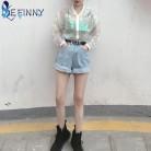 Для женщин Радуга куртка солнцезащитный крем Лазерная симфония голографическая лампа девушка пальто переливающийся прозрачный бомбер Sunproof купить на AliExpress