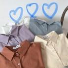 993.64 руб. 30% СКИДКА|Осень основы Повседневная Блузка Для женщин с длинным рукавом отложной воротник карман рубашки женственная желтый фиолетовый синий свободные корейский Кардиган купить на AliExpress