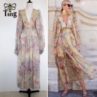 Tingfly 2020 Summer Designer Runway Floral Dress Sexy Deep V neck Maxi Dress Casual Trendy Dress On Tumblr vestidos de fiesta