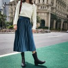 US $14.39 40% OFF|Yanueun Autumn Winter Velvet Pleated Skirts Elegant Skirt Casual High Elastic Waist Mid Calf Skirt Stylish For Ladies-in Skirts from Women's Clothing on Aliexpress.com | Alibaba Group