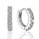 Fashion Pendientes Plata 925 Sterling Silver Women's Double CZ Crystal Earrings Brincos Aros Bijoux Oorknopjes Jewelry