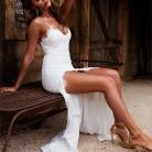 € 21.34 40% de DESCUENTO|NATTEMAID sin respaldo sin tirantes espaguetis vestido de encaje Sexy elegante Verano de 2018 de Split blanco vestido de mujer Maxi vestido largo Vestidos en Vestidos de La ropa de las mujeres en AliExpress.com | Alibaba Group