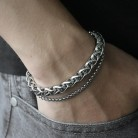 US $4.55 40% OFF|Unique Men's Bracelet Double Chain Bracelet Silver Stainless Steel Wheat Box Chain Link Bracelets Male Jewelry Dropshipping DB75-in Chain & Link Bracelets from Jewelry & Accessories on Aliexpress.com | Alibaba Group