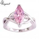 Lingmei потом модные ослепительно ювелирные изделия розовый CZ и белый серебро цвет кольцо размеры 6 7 8 9 10 11 красивые кольца для женщин купить на AliExpress