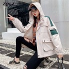 ZQLZ Spring Harajuku Spring Jackets Coats Women 2020 New Casual Hooded Black Overcoat Female Plus Size Autumn Coat Mujer