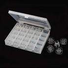 25Pcs Clear Sewing Machine Bobbins Spools Empty Bobbins Spools Plastic Storage Box For Home Sewing Accessories Tools AA7650