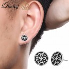 QIMING Round Black Earrings Women Punk Gothic Jewelry Silver Valkyrie Viking Statement Stud Men Earrings Male Gift