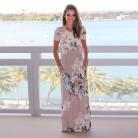 379.34 руб. 35% СКИДКА|Лето 2018, платье с цветочным принтом, круглый вырез, короткий рукав, длинное пляжное элегантное платье макси, женская одежда, Vestidos Verano zy *-in Платья from Женская одежда on Aliexpress.com | Alibaba Group