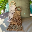 Hollow Tassel Rattan Bags Handmade Wood Handle Womens Handbags Woven Rope Straw Bag Casual Totes Summer Beach Purse Shopping Sac