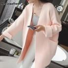 1703.96 руб. 38% СКИДКА|Новинка 2019 года для женщин с длинным рукавом Свободные Вязание кардиган свитер s вязаный женский Тянуть Роковой купить на AliExpress