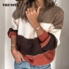 1028.17руб. 30% СКИДКА|VIEUNSTA модный пэчворк с О образным вырезом, осенне зимний свитер 2019 Для женщин с длинным рукавом теплые вязаные свитера; пуловеры; топы джемпер-in Пуловеры from Женская одежда on AliExpress - 11.11_Double 11_Singles' Day