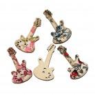 16.36 руб. 29% СКИДКА|Деревянные швейные пуговицы для скрапбукинга гитары разные на два отверстия цветочный узор 3,5 см (1 3/8
