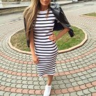 381.02 руб. 44% СКИДКА|Повседневное летнее женское платье с коротким рукавом и круглым вырезом для стройных, обтягивающее Полосатое платье с разрезом по бокам женские платья-in Платья from Женская одежда on Aliexpress.com | Alibaba Group