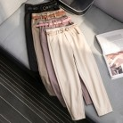 1358.24 руб. 25% СКИДКА|Корейская Зимняя шерстяная одежда брюки Для женщин новая высокая тонкая талия поясом шаровары элегантные брюки женские осенние теплые Для женщин длинные штаны F201 купить на AliExpress