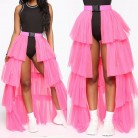 2019 Fashion Women Girls Mesh Skirts High Waist Umbrella Skirts Ladies Layered Tulle Tutu Skirts 2Style Long/Mini Skirts