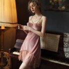 Sexy Velvet Nightdress Woman Lace V-neck Nightgown Sleepwear Back Suspender with Breast Pad Small Chest Temptation Nightwear