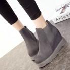 Женские ботинки 2018 новые осенние и зимние ботинки натуральная кожа клин толстым дном увеличился ботильоны зимняя обувь купить на AliExpress