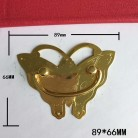 89*66mm Brass Butterfly Pattern Drawer Cabinet Desk Box Door Pull Handle Knob Furniture Hardware,Yellow Color