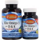 Carlson Labs, Elite Omega-3 Plus D & K، نكهة الليمون الطبيعية، 60 + 30 جيل ناعم حر