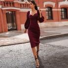 706.41руб. 50% СКИДКА Nibber, сексуальное платье с v образным вырезом, с открытыми плечами, облегающее, для женщин, Осень зима, Клубные, вечерние, красные, элегантные, миди платье, женское, черное платье-in Платья from Женская одежда on AliExpress - 11.11_Double 11_Singles' Day