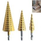 4-12 4-20 4-32 мм ступенчатое сверло с титановым покрытием из быстрорежущей стали, конусное сверло