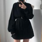 1143.6 руб. 20% СКИДКА|7 цветов платье с длинными рукавами женское весенне осеннее корейское стильное платье Дамское однотонное свободное платье футболка женская с поясом (X218)-in Платья from Женская одежда on Aliexpress.com | Alibaba Group
