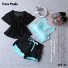 US $12.62 17% OFF|Sport Wear Three Piece Yoga Set Sport Shirt for Women Sports bra Fitness Flare Pants Leggings Tracksuit Gym Leggings 15 Colours -in Yoga Sets from Sports & Entertainment on Aliexpress.com | Alibaba Group