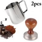 58 мм эспрессо кофе тампер с 12 унций фритюрница бариста стиль американская плоская основа деревянная ручка твердая Тяжелая нержавеющая стал...