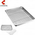 CHANOVEL Baking Tray with Removable Cooling Rack Set Stainless Steel Baking Pan sheet Non Toxic , used for oven, Dishwasher Safe
