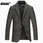 3401.39 руб. 22% СКИДКА|Aismz весна осень зима толстые шерстяные твидовые куртки мужские однотонные серые Slim Fit Блейзер мужские повседневные деловые дизайнерские мужские s блейзер купить на AliExpress