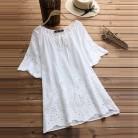 2018 летний топ Для женщин с круглым вырезом короткий рукав блузка плюс Размеры Винтаж выдалбливают цветочной вышивкой работы белая рубашка Повседневное Blusas купить на AliExpress