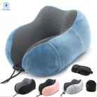 Portable Travel Neck Pillow Soft Slow Rebound Cervical Sleeping Pillow Hump Design U Shaped Memory Foam Travel Mask and Pillow