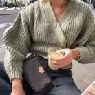 1448.63руб. 40% СКИДКА|Simplee вязаный кардиган с v образным вырезом, женский свитер, Осень зима, длинный рукав, завязка, шнуровка, женский свитер, женская верхняя одежда, пальто, джемпер on AliExpress