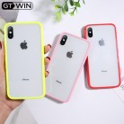 Funda para teléfono GTWIN Simple transparente Color caramelo para iphone 11 Pro X XR XS Max 6 6S 7 8 Plus parejas funda trasera acrílica transparente TPU