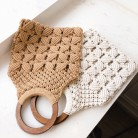 2019 spring and summer new woven bag hollow beach bag wooden handle ring straw handbag female tote