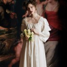 Cotton Nightgown Woman Autumn Night Gown Long Sleeve Nightgown Sleepwear Elegant Vintage Lady Dressing Gown European Medieval