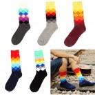 74.29 руб. 33% СКИДКА|NIBESSER мужские носки 1 пара градиентного цвета средней длины Повседневные носки Англия и американский стиль женские хлопковые носки весна осень купить на AliExpress