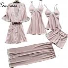 4114.33 руб. |Smmoloa для женщин пикантные шелковые атласные полосатые пижамы комплект 5 шт. сезон: весна лето пижамные комплекты купить на AliExpress
