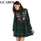 Gcarol британский стиль Для женщин Вышивка цветочный платье в клетку Высокая Талия Винтаж зеленый классический мини платье осень зима Женское платье купить на AliExpress