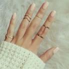 SHUANGR 2018 6 шт./лот Кристалл Блестящий в стиле панк среднего размера палец костяшки кольца Шарм лист кольцо набор для женщин ювелирные изделия купить на AliExpress