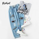 € 31.26 |Pantalones vaqueros de mezclilla de cintura media con cordón de impresión Offset azul para mujer-in Pantalones vaqueros from Ropa de mujer on Aliexpress.com | Alibaba Group