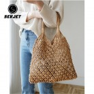 Fashion Woven Ladies Handbags 2020 Mesh Rope Weaving Tie Buckle Reticulate Hollow Straw Beach Tote Bag Net Women Shoulder Bag