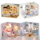 Кукольный дом мебели DIY Миниатюрная модель Пылезащитный чехол 3D деревянный кукольный домик рождественские подарки игрушки для детей котенок дневник H013 # E купить на AliExpress